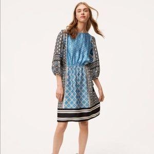 LOFT Ocean Mosaic Tassel Dress - Size M